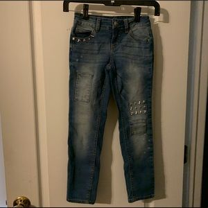 Girls embellished cropped jeans